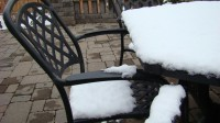 Patio furniture in the snow